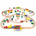Deals List: 100pc Hand Crafted Wooden Train Set Triple Loop Railway Track