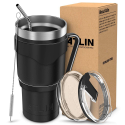Deals List: Atlin Tumbler [30 oz. Double Wall Stainless Steel Vacuum Insulation] Travel Mug [Crystal Clear Lid] Water Coffee Cup [Straw + Handle Included] For Home, Outdoor, Office, School,Ice Drink,Hot Beverage