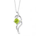 Deals List: 1 1/5 ct Natural Peridot & White Topaz Swirl Pendant