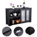 Deals List: Costway Storage Cabinet Sideboard Buffet Cupboard Glass Sliding Door Pantry Kitchen