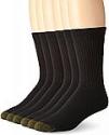 Deals List:  6-Pack Gold Toe Men's Cotton Crew Athletic Socks (black, size 10-13)