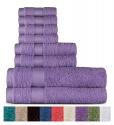 Deals List: Welhome 100% Cotton 8 Piece Towel Set (Lilac); 2 Bath Towels, 2 Hand Towels and 4 Washcloths, Machine Washable, Super Soft