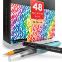 Deals List: Arteza Real Brush Pens, 48 Colors for Watercolor Painting with Flexible Nylon Brush Tips, Paint Markers for Coloring, Calligraphy and Drawing with Water Brush for Artists and Beginner Painters