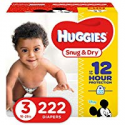 Deals List: HUGGIES Snug & Dry Baby Diapers, Size 3 (fits 16-28 lbs), One Month Supply (222 Count)