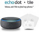 Deals List: Echo Dot (3rd Gen) - Charcoal Fabric Bundle with Tile Mate with Replaceable Battery - 4 pack