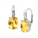 Deals List: 4 ct Natural Citrine Earrings w/Diamonds in Sterling Silver