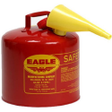 """Deals List: Eagle UI-50-FS Red Galvanized Steel Type I Gasoline Safety Can with Funnel, 5 Gallon Capacity, 13.5"""" Height, 12.5"""" Diameter"""