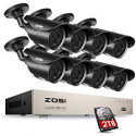 Deals List: ZOSI 8CH Full 1080p HD-TVI Security Camera System,8 Channel 1080p Surveillance DVR and (8) HD 2.0MP 1080p Weatherproof Bullet CCTV Cameras,42pcs IR LEDs 120ft(40m) IR Night Vision 2TB Hard Drive