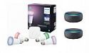 Deals List: Hue White and Color Ambiance A19 LED Starter Kit + 2 Amazon Echo Dot (3rd Generation)
