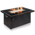 Deals List: Outland Living Series 401 Brown 44-Inch Outdoor Propane Gas Fire Pit Table, Black Tempered Tabletop w/Arctic Ice Glass Rocks and Resin Wicker Panels, Espresso Rectangle