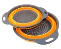 Deals List: TedGem 2 Pack Collapsible Colanders Set, Food-Grade Silicone kitchen Strainer Space-Saver Folding Strainer Colander, Dishwasher-Safe