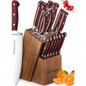 Deals List: Knife Set, 15-Piece Kitchen Knife Set with Block Wooden, Manual Sharpening for Chef Knife Set, German Stainless Steel, Emojoy