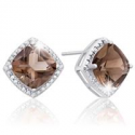 Deals List: 3 3/4 Carat Tw Cushion Cut Smoky Quartz And Diamond Earrings