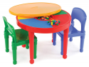 Deals List: Tot Tutors Kids 2-in-1 Plastic LEGO-Compatible Activity Table and 2 Chairs Set, Primary Colors