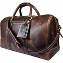Deals List: Leather Travel Duffle Bag Gym Overnight Weekend Luggage Carry on Airplane Underseat Bag