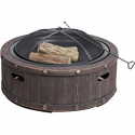 Deals List: Sun Joe SJFP35-STN-RWD 35-in. Cast Stone Base, Wood Burning Fire Pit w/Dome Screen and Poker, Rivetted Wood