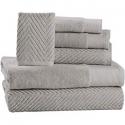 Deals List: 6 Piece Premium Cotton Bath Towels Set - 2 Bath Towels, 2 Hand Towels, 2 Washcloths Machine Washable Super Absorbent Hotel Spa Quality Luxury Towel Gift Sets Chevron Towel Set - Platinum