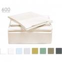 "Deals List: TRANQUIL NIGHTS 600 Thread Count Cotton Sheet Set- Ivory King, 4-Piece Set, Long Staple Combed Cotton, Sateen Weave, Classic Z Hem, Ultra Soft & Shine, Fits Mattress Upto 17"" Deep Pocket"