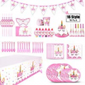 Deals List: XREXS 16 Style Unicorn Birthday Party Supplies Pack