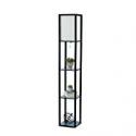 Deals List: Simple Designs Home LF1014-BLK Etagere Organizer Storage Shelf Linen Shade Floor Lamp, 2, Black