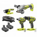 Deals List: Ryobi 18-Volt ONE+ Li-Ion Brushless 4-Tool Combo Kit with Drill, Grinder, Impact Driver, Light, (2)1.5Ah Batteries and Charger