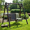 Deals List: Coral Coast Rustic Torched Log Curved Back Porch Swing