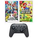 Deals List: New Super Mario Bros U Deluxe + Super Smash Bros Ultimate Nintendo Switch Import Region Free + Pro Controller