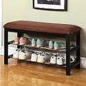 Deals List: Roundhill Furniture Dark Espresso Wood Shoe Bench with Chocolate Microfiber Seat