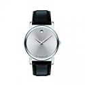 Deals List: Movado Museum Silver Dial Black Leather Mens Watch 2100001