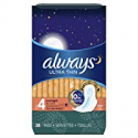 Deals List: Always Ultra Thin Feminine Pads for Women, Size 4, Overnight Absorbency, with Wings, Unscented, 28 count - Pack of 3 (84 Count Total)