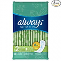 Deals List: Always Ultra Thin Feminine Pads for Women, Size 2, Super Absorbency, Unscented, 40 Count - Pack of 3 (120 Count Total)