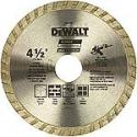 Deals List: DEWALT DW4725 High Performance 4-1/2-Inch Dry Cutting Continuous Rim Diamond Saw Blade with 7/8-Inch Arbor for Masonry