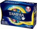 Deals List: Tampax Pocket Pearl Tampons with Plastic Applicator, Regular Absorbency, Unscented, 36 Count- Pack of 4, (144 Count Total)