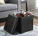 Deals List: Mainstays Ultra Collapsible Storage Ottoman, Black Faux Leather