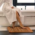 Deals List: Bamboo Bath Mat Shower Floor Mat Non Slip, Made of 100% Natural Bamboo