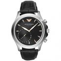 Deals List: Emporio Armani Men's Connected Black Leather 43mm Smart Watch
