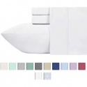 Deals List: 600-Thread-Count 100% Cotton Sheets Pure White King Size, 4-Piece Long-staple Combed Cotton Best-Bedding Sheet Set For Bed, Breathable, Soft & Silky Sateen Weave Fits Mattress Upto 18'' Deep Pocket
