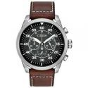 Deals List: Citizen Eco-Drive Men's Avion Chronograph Brown Leather Strap Watch CA4210-24E