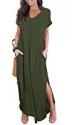 Deals List: GRECERELLE Women's Casual Loose Pocket Long Dress Short Sleeve Split Maxi Dresses