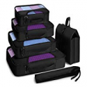 Deals List: Veken 6 Set Packing Cubes, Travel Luggage Organizers with Laundry Bag & Shoe Bag