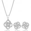 """Deals List:  Parade of Jewels 1/4 CT.TW. Diamond Love Knot Set in Sterling Silver with 18"""" Box Chain"""