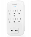 Deals List: Fosmon C-10685 6 Outlet USB Surge Protector, 3-Prong Wall Mount Adapter Tap with 2 Dual USB Port Charger 2.1A Quick Charging, 1875 Watts Indoor, Grounded, ETL Listed