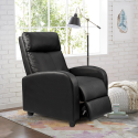 Deals List: Homall Single Recliner Chair Padded Seat Black PU Leather Living Room Sofa Recliner Modern Recliner Seat Home Theater Seating (Black)