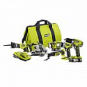 Deals List: RYOBI P884 18-Volt ONE+ Lithium-Ion Cordless 6-Tool Combo Kit with (2) 1.5 Ah LITHIUM+ Batteries, Dual Chemistry Charger, and Bag