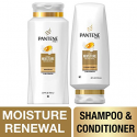 Deals List: Pantene, Shampoo and Sulfate Free Conditioner Kit, Pro-V Daily Moisture Renewal for Dry Hair, 25.4 oz and 24 oz, Kit