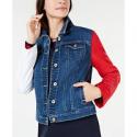 Deals List: Tommy Hilfiger Womens Colorblocked-Sleeve Denim Jacket