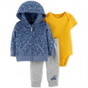 Deals List: Carter's Baby Boys 3-Pc Cotton Hoodie Bodysuit & Jogger Pants