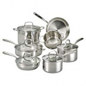 Deals List: Lagostina Q939SC64 Tri-Ply Stainless Steel Multiclad Dishwasher Safe Oven Safe Glass Lid Cookware Set , 12-Piece, Silver