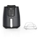 Deals List: Ninja Air Fryer, 1550-Watt Programmable Base for Air Frying, Roasting, Reheating & Dehydrating with 4-Quart Ceramic Coated Basket (AF101), Black/Gray