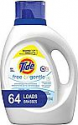Deals List: Tide Free and Gentle HE Laundry Detergent Liquid, 100 oz, 64 Loads, Unscented and Hypoallergenic for Sensitive Skin, Free and Clear of Dyes and Perfumes